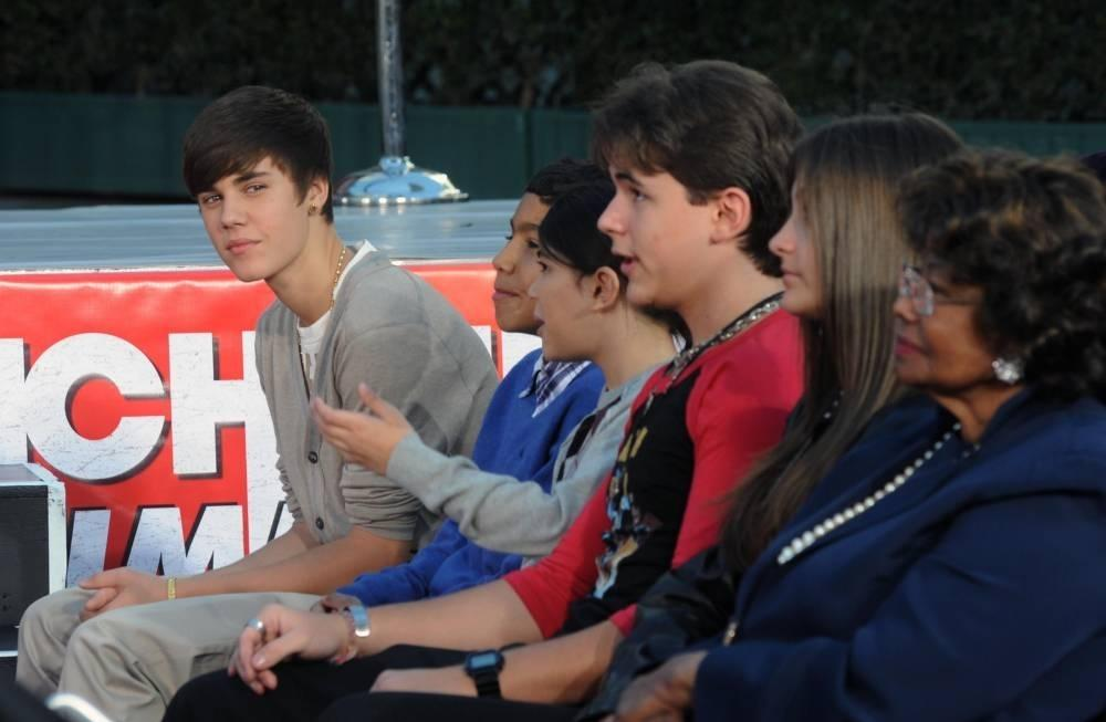 Justin Bieber with the Jackson kids Royal Jackson, Blanket Jackson, Prince Jackson And Paris Jackson