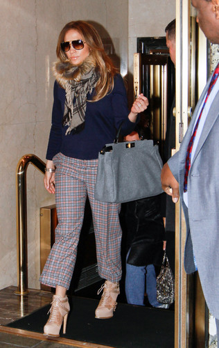 Leaving A Hotel In New York City [1 February 2012]