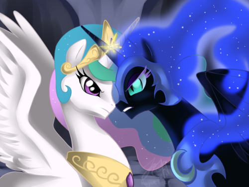 My Little poni, pony - La Magia de la Amistad fondo de pantalla titled Princess Celestia vs Nightmare Moon