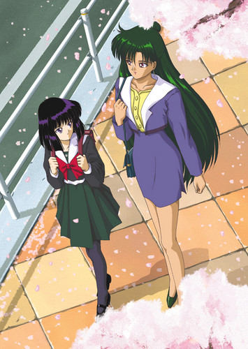 Sailor Saturn wallpaper possibly containing a parasol and animê entitled Setsuna & Hotaru