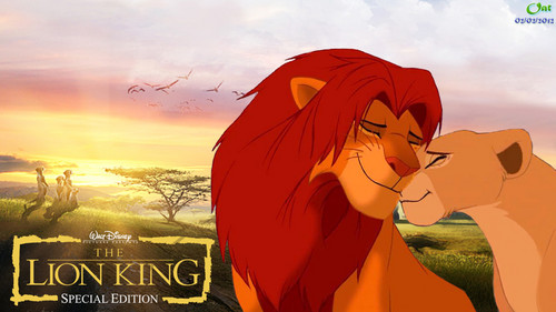 the lion king wallpaper probably containing anime titled Simba and Nala HD wallpaper