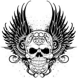 Tribal tattoos achtergrond probably with a fleur de lis entitled Skulls