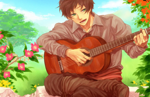 Hetalia Spain fond d'écran containing a guitarist called Spain