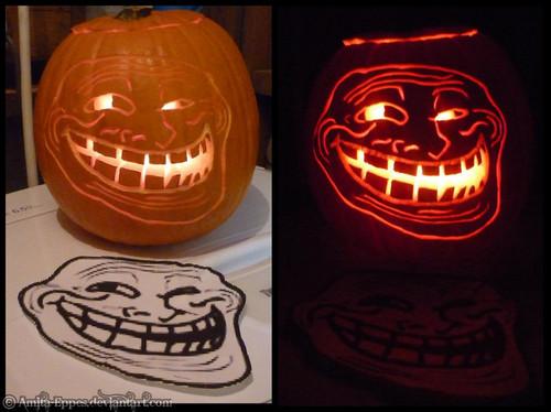 Trollface halloween pompoen