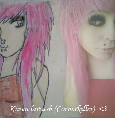 Karen  Larrush (cornerkiller),scene queen,emo scene, hair style