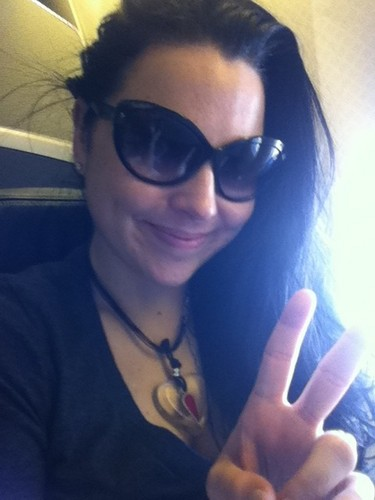 Amy on the plane going to Japon