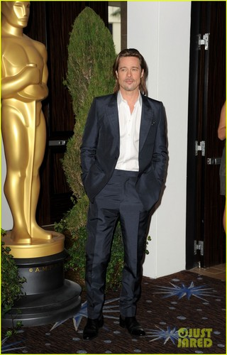 ब्रैड पिट वॉलपेपर with a business suit, a well dressed person, and a suit called Brad Pitt: Academy Awards Nominations Luncheon