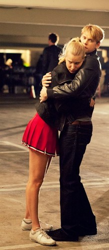 Chord and Heather behind the scenes of Michael episode