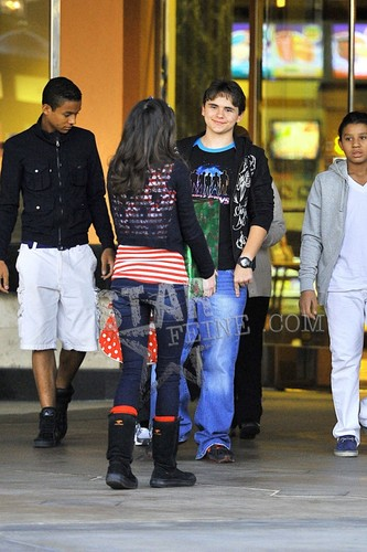 Jaafar Jackson, Prince Jackson and Jermajesty Jackson at the commons movie in calabasas