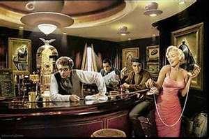 James Dean, Elvis Presley, Maliyn Monroe