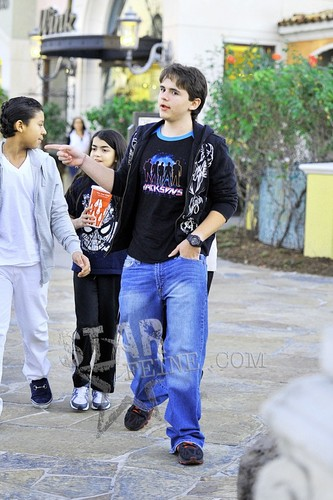 Jermajesty Jackson with his cousins Blanket Jackson and Prince Jackson at the cine