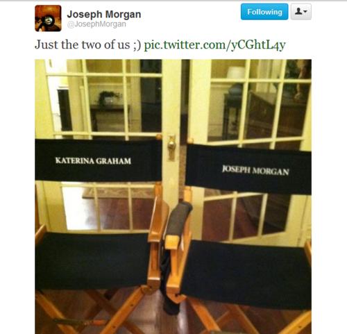 Joseph & Kat together on set.