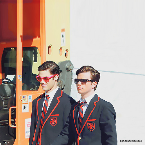 glee wallpaper with sunglasses and a business suit titled Klaine<3