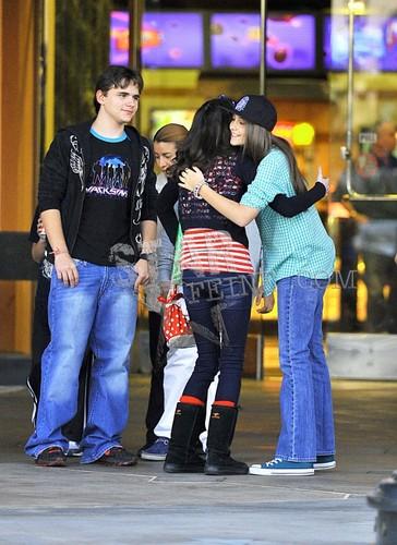 PJ hugging a fan