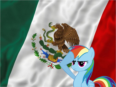 Rainbow Dash saluteing  the Mexican Flag! <3