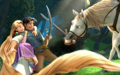 Tangled پیپر وال with a horse trail, a lippizan, and a horse wrangler called Tangled پیپر وال