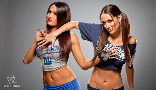 Diva WWE kertas dinding possibly with seluar panas, hot pants, and a portrait titled The Bella Twins