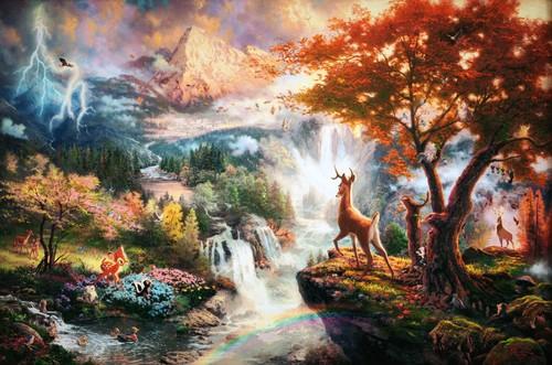 Thomas Kinkade's ディズニー Paintings - Bambi