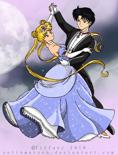 Sailor Moon karatasi la kupamba ukuta containing anime titled serena and darien