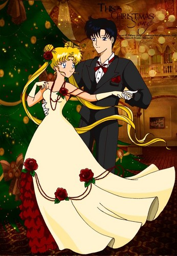 Sailor Moon karatasi la kupamba ukuta probably with a bouquet titled serena and darien