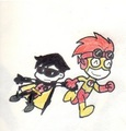 tiny titan ver. robin & flash - young-justice fan art