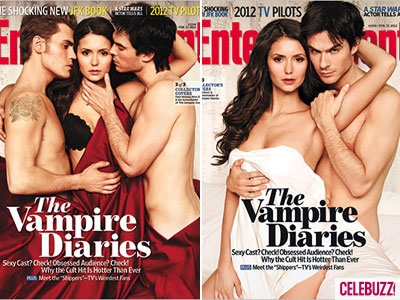 The Vampire Diaries TV Show wallpaper probably containing a dinner dress, attractiveness, and skin titled 'Vampire Diaries' Stars Go Nude For Entertainment Weekly (PHOTOS)