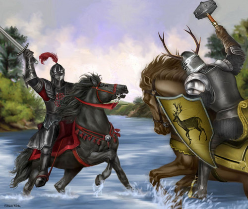 A Song of Ice and Fire wallpaper possibly with a lippizan, a horse trail, and a horse wrangler called Rhaegar Targaryen & Robert Baratheon