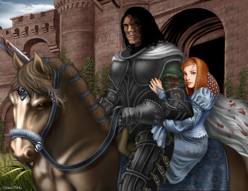 A Song of Ice and Fire wallpaper possibly with a street titled Sandor Clegane & Sansa Stark