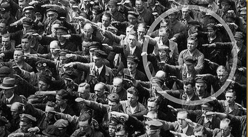 August Landmesser, shipyard worker in Hamburg, refused to perform Nazi salute
