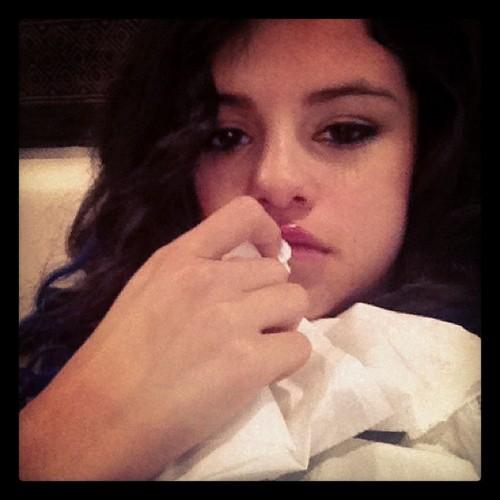 Awww selena is sick today :(