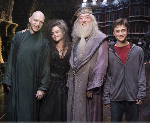 Bellatrix with Harry, Dumbledore and Voldemort