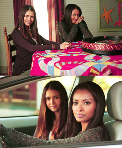 The Vampire Diaries TV Show wallpaper titled Bonnie/Elena/Bts-Kat Graham - Nina Dobrev-3x12