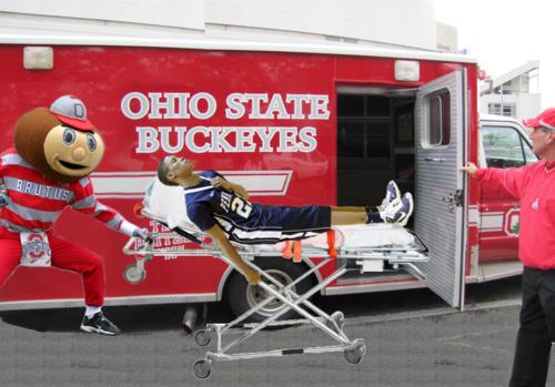 Brutus wheels injured Penn ST player.