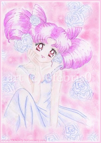 Sailor Mini moon (Rini) দেওয়ালপত্র probably containing a bath towel and a dam titled Chibiusa wearing a dress