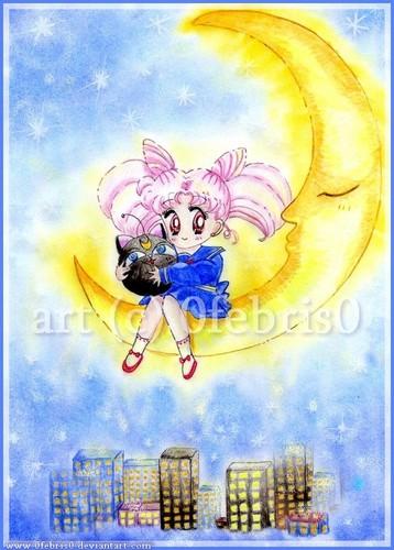 Chibiusa sitting on the Moon