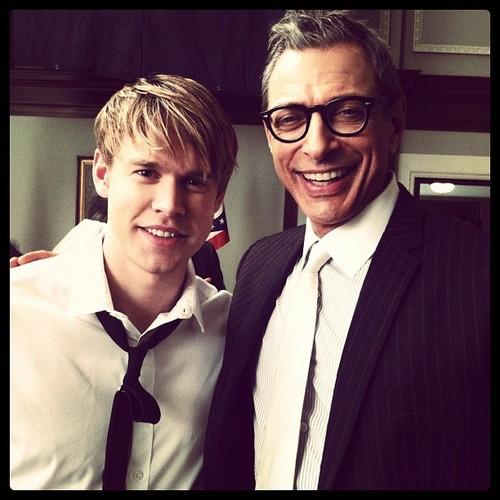 Chord Overstreet and Jeff Goldblum