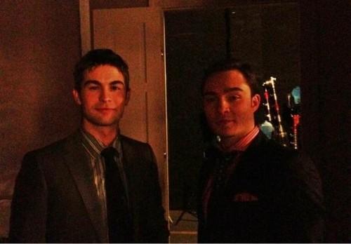 Ed Westwick sul set di GG, 10 febbraio 2012...