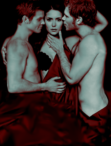 the vampire diaries tv tampil wallpaper titled Elijah/Tatia/Klaus (EW cover manip)