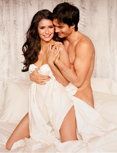 Ian Somerhalder and Nina Dobrev wallpaper probably with skin titled Ian&Nina EW