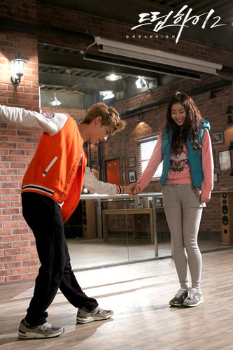 Kang Sora wallpaper probably with bare legs, a hip boot, and a playsuit called JB & Kang Sora @ Dream High 2