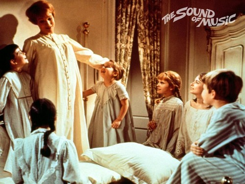The Sound of Music wolpeyper probably with a drawing room and a nightgown called Maria with the Children in Her Bedroom