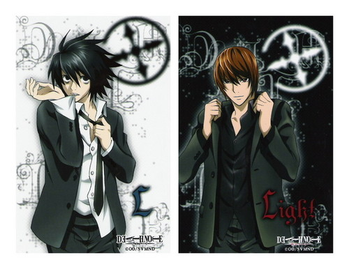 Death Note achtergrond probably with anime and a portrait entitled Near, Light and L