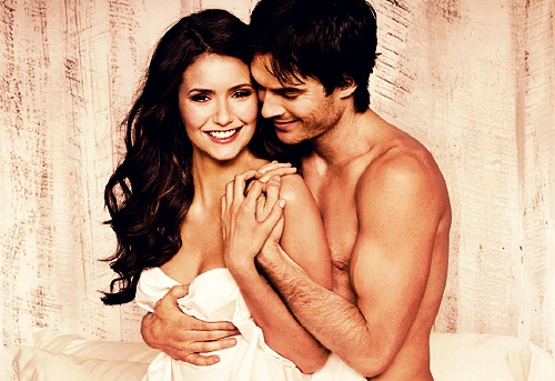 Ian Somerhalder e Nina Dobrev wallpaper probably with skin entitled Nina & Ian