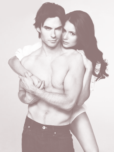 Ian Somerhalder e Nina Dobrev wallpaper containing a hunk, a six pack, and skin called Nina & Ian