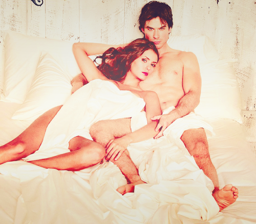 Ian Somerhalder and Nina Dobrev wallpaper probably with skin titled Nina & Ian