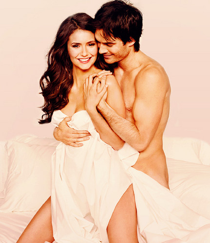 Ian Somerhalder and Nina Dobrev wallpaper possibly containing skin and a portrait called Nina & Ian