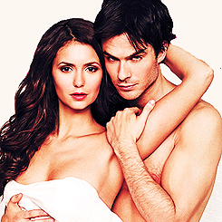 Ian Somerhalder e Nina Dobrev wallpaper probably containing a portrait and skin called Nina & Ian