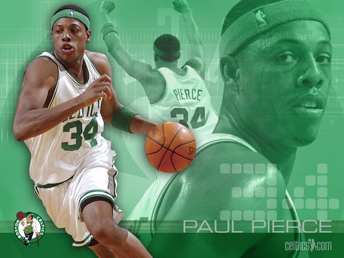 Boston Celtics Hintergrund containing a basketball player and a dribbler entitled Paul Pierce34