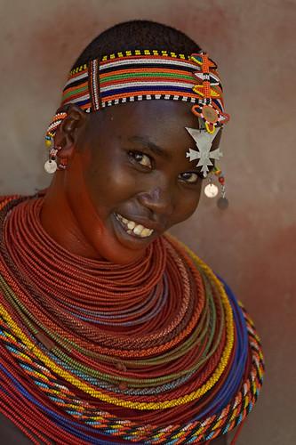 Samburu dancer in traditional garb