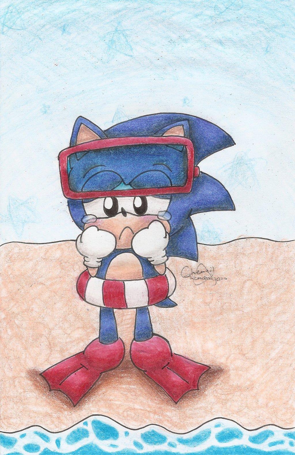 Sonic's swimming